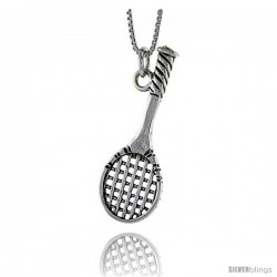 Sterling Silver Tennis Racket Pendant, in. ( mm) Long.