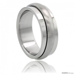 Surgical Steel 8mm Spinner Wedding Band Ring Domed Matte Center