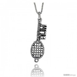 Sterling Silver Tennis Bum Pendant, 1 7/16 in. (35 mm) Long.