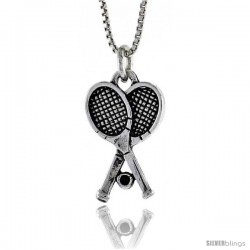 Sterling Silver Racquetball Pendant, 7/8 in. (22 mm) Long.