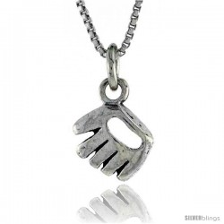 Sterling Silver Baseball Glove Pendant, 1/2 in. (12 mm) Long.