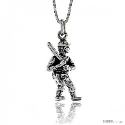 Sterling Silver Baseball Player Pendant, 1 in. (26 mm) Long.