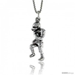 Sterling Silver Football Player Pendant, 1 1/8 in. (28 mm) Long.