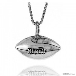 Sterling Silver Football Pendant, 3/4 in. (19 mm) Long.