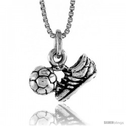 Sterling Silver Soccer Shoe and Ball Pendant, 9/16 in. (15 mm) Long.