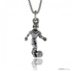 Sterling Silver Soccer Player Pendant, 7/8 in. (22 mm) Long.