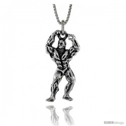 Sterling Silver Body Builder Pendant, 1 3/16 in. (30 mm) Long.