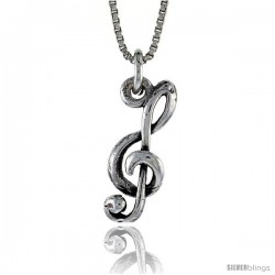 Sterling Silver G-clef Pendant, 13/16 in. (20.0 mm) Long.
