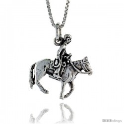 Sterling Silver Horse & Rider Pendant, 7/8 in. (22 mm) Long.