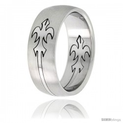 Surgical Steel Domed 8mm Fleur-de-lis Ring