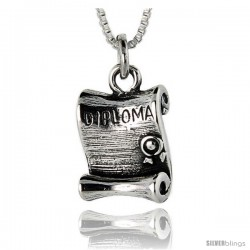 Sterling Silver Oxidized Diploma Pendant -Style Po326