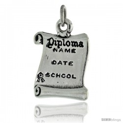 Sterling Silver Oxidized Diploma (Engravable) Pendant