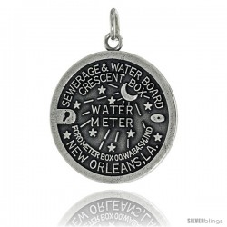 Sterling Silver New Orleans, LA Water Meter Manhole Cover Pendant, 1 in tall