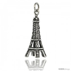 Sterling Silver 3-Dimentional Eiffel Tower Charm, 1 1/8 in tall