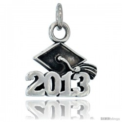 Sterling Silver 2013 Graduation Charm, 5/8 in long