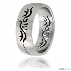 Surgical Steel Domed 8mm Band Ring Tribal Cut-out Design