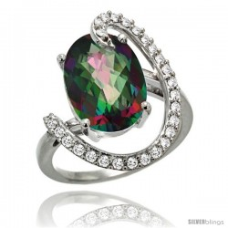 14k White Gold Natural Mystic Topaz Ring Oval 14x10 Diamond Accent, 3/4inch wide