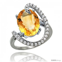 14k White Gold Natural Citrine Ring Oval 14x10 Diamond Accent, 3/4inch wide