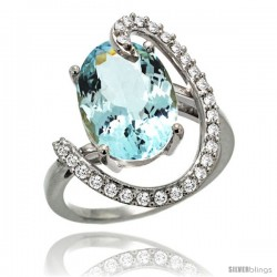 14k White Gold Natural Aquamarine Ring Oval 14x10 Diamond Accent, 3/4inch wide