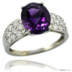 14k White Gold Natural Amethyst Ring 10x8 mm Oval Shape Diamond Accent, 3/8inch wide -Style R289771w01