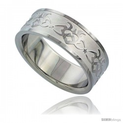 Surgical Steel 8mm Tribal Heart on Flames Ring Wedding Band Matte finish