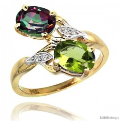 14k Gold ( 8x6 mm ) Double Stone Engagement Mystic Topaz & Peridot Ring w/ 0.04 Carat Brilliant Cut Diamonds & 2.34 Carats Oval
