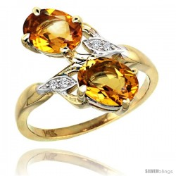 14k Gold ( 8x6 mm ) Double Stone Engagement Citrine Ring w/ 0.04 Carat Brilliant Cut Diamonds & 2.34 Carats Oval Cut Stones