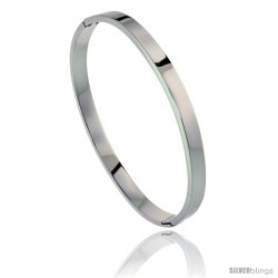 Stainless Steel Oval Bangle Bracelet For men, 8 in -Style Bss15b