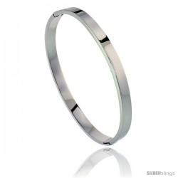 Stainless Steel Oval Bangle Bracelet For men, 8 in -Style Bss15b
