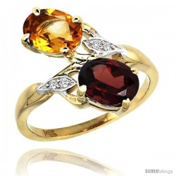 14k Gold ( 8x6 mm ) Double Stone Engagement Citrine & Garnet Ring w/ 0.04 Carat Brilliant Cut Diamonds & 2.34 Carats Oval Cut