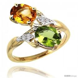 14k Gold ( 8x6 mm ) Double Stone Engagement Citrine & Peridot Ring w/ 0.04 Carat Brilliant Cut Diamonds & 2.34 Carats Oval Cut