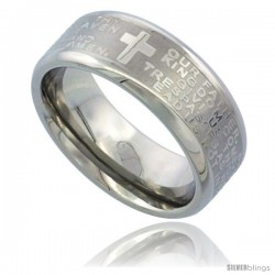 Surgical Steel 8mm Lord's Prayer Wedding Band Ring Bull nosed Edges Comfort-Fit
