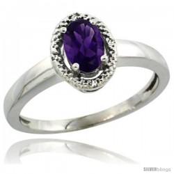 14k White Gold Diamond Halo Amethyst Ring 0.75 Carat Oval Shape 6X4 mm, 3/8 in (9mm) wide