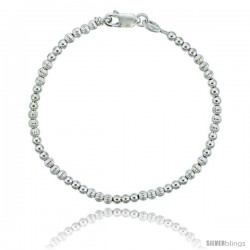 Sterling Silver Polished & Corrugated Bead Bracelet), 1/8 in. (3 mm) wide