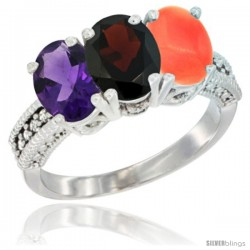 14K White Gold Natural Amethyst, Garnet & Coral Ring 3-Stone 7x5 mm Oval Diamond Accent