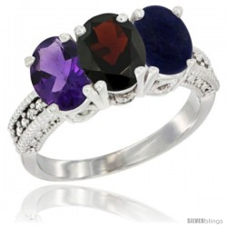 14K White Gold Natural Amethyst, Garnet & Lapis Ring 3-Stone 7x5 mm Oval Diamond Accent
