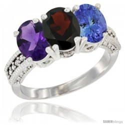 14K White Gold Natural Amethyst, Garnet & Tanzanite Ring 3-Stone 7x5 mm Oval Diamond Accent