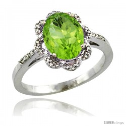 Sterling Silver Diamond Halo Natural Peridot Ring 1.65 Carat Oval Shape 9X7 mm, 7/16 in (11mm) wide
