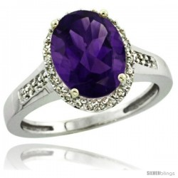 14k White Gold Diamond Amethyst Ring 2.4 ct Oval Stone 10x8 mm, 1/2 in wide