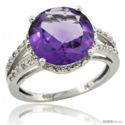 14k White Gold Diamond Amethyst Ring 5.25 ct Round Shape 11 mm, 1/2 in wide