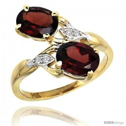 14k Gold ( 8x6 mm ) Double Stone Engagement Garnet Ring w/ 0.04 Carat Brilliant Cut Diamonds & 2.34 Carats Oval Cut Stones, 3/4