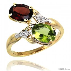 14k Gold ( 8x6 mm ) Double Stone Engagement Garnet & Peridot Ring w/ 0.04 Carat Brilliant Cut Diamonds & 2.34 Carats Oval Cut