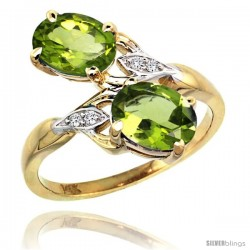 14k Gold ( 8x6 mm ) Double Stone Engagement Peridot Ring w/ 0.04 Carat Brilliant Cut Diamonds & 2.34 Carats Oval Cut Stones