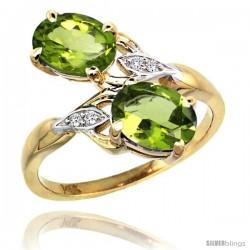 14k Gold ( 8x6 mm ) Double Stone Engagement Peridot Ring w/ 0.04 Carat Brilliant Cut Diamonds & 2.34 Carats Oval Cut Stones