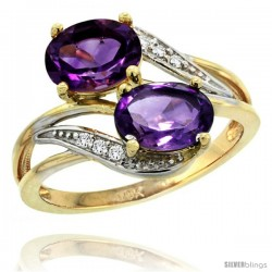 14k Gold ( 8x6 mm ) Double Stone Engagement Amethyst Ring w/ 0.07 Carat Brilliant Cut Diamonds & 2.34 Carats Oval Cut Stones