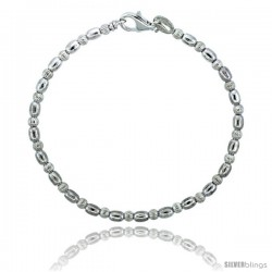 Sterling Silver Corrugated & Oval Bead Bracelet), 1/8 in. (3 mm) wide