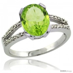 Sterling Silver and Diamond Halo Natural Peridot Ring 2.4 carat Oval shape 10X8 mm, 3/8 in (10mm) wide