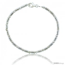 Sterling Silver Corrugated & Elongated Bead Bracelet), 1/8 in. (3 mm) wide