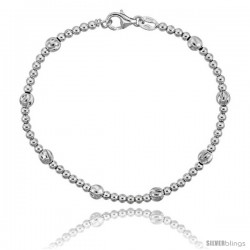 Sterling Silver Polished Bead Bracelet), 3/16 in. (5 mm) wide