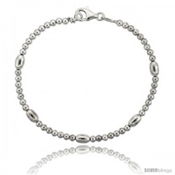 Sterling Silver Polished Bead Bracelet), 5/32 in. (4 mm) wide